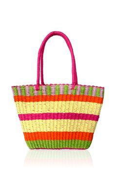 Shop Pink Annabelle Basket In Straw by Serpui Marie - Moda Operandi