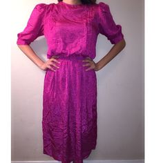 Vintage rose colored dress Vintage over the knee rose color dress Vintage Dresses Midi