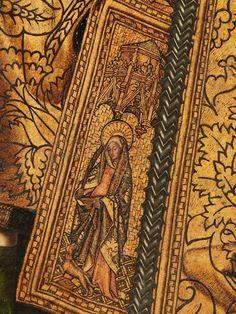 """""""Santo Domingo de Silos"""", 1474-1477, Bartolomé Bermejo.Considerada como una obra maestra de la pintura española del siglo XV, la ejecución del """"Santo Domingo de Silos"""" costó a su autor, Bartolomé Bermejo, incluso la excomunión. Si bien contrata la finalización de la obra en 1477, el pintor solamente entrega la tabla central, motivo por el que recibe sentencia de excomunión; no obstante Bermejo se compromete a culminar el banco, las calles laterales y el ático en los meses sucesivos.la manera…"""