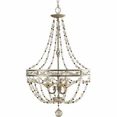 Chanelle three-light pendant with an Antique Silver finish is on display here at Oberkampf Home!