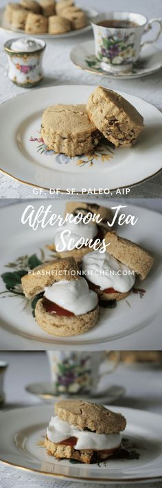 Afternoon Tea Scones with Jam & 'Clotted Cream' (paleo AIP) Clotted Cream, Paleo Dessert, Dessert Recipes, Scone Recipes, Lunch Recipes, Paleo Desert Recipes, Paleo Recipes, Free Recipes, Afternoon Tea Scones