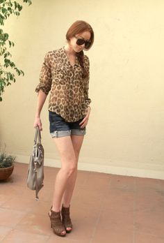 Full Leopard Blouse Outfit