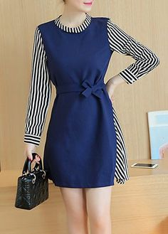 Navy Blue Long Sleeve Faux Two Piece Dress with cheap wholesale price, buy Navy Blue Long Sleeve Faux Two Piece Dress at Rotita.com !
