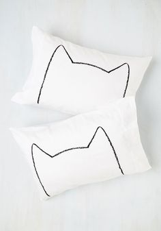 Feline Sleepy Pillowcase Set. When hi-purr-nation calls, get cozy with these kitty pillowcases! #white #modcloth