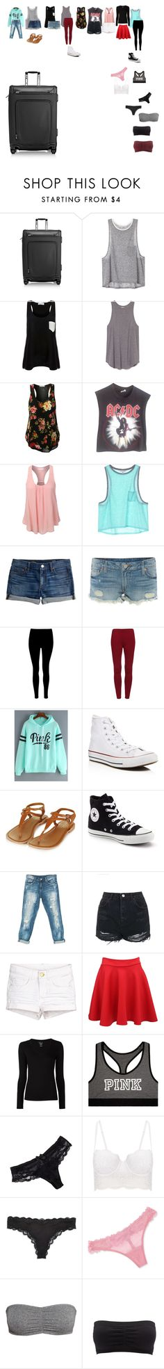 """""""Packing for San Diego"""" by cassiepresley ❤ liked on Polyvore featuring Tumi, Solid & Striped, Vintage, LE3NO, J.Crew, True Religion, Converse, Topshop, Sans Souci and Pilot"""