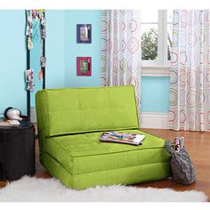 """your zone flip chair, multiple colors-- This folds into a """"guest"""" bed for a friend which could be cool.   Not sure if it would be too  big under loft area? Its 30x30x26"""