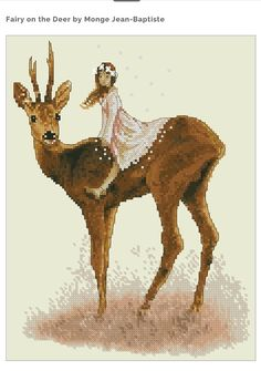 Cross Stitch Chart Fairy Deer Fantasy Series by Lena Lawson Needlearts - Art of Jean-Baptiste Monge