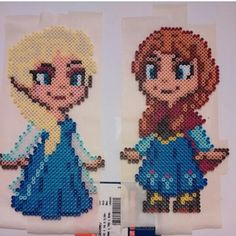 Elsa and Anna Frozen perler beads by nicknitro81 (original bead sprite design by GeekMythologyCraft)