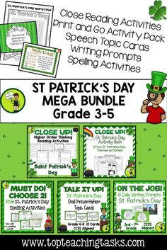 Be ready for St. Patrick's Day with this reading packet full of reading comprehension passages, St. Patrick's Day reading activities, writing activities, and more! Perfect for small groups, reading lesson plans, teaching ideas, and reading centers. St. Patrick's Day, Teaching Ideas, #St.Patrick's Day #St.Patrick'sDayReading #St.Patrick'sDayReadingComprehension