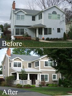 This budget friendly exterior makeover really enhanced the character of the home. This budget friendly exterior makeover really enhanced the character of the home. was last modified: August… Home Renovation, Home Remodeling, Pintura Exterior, Up House, Deco Design, Home Living, Living Room, House Colors, Outside House Paint Colors