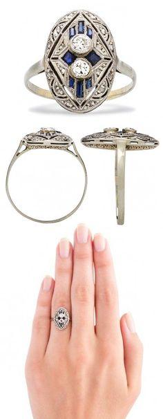 Vintage Saphire and Diamond Ring... I loooove Vintage jewelry!!