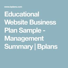 Educational Website Business Plan Sample  Management Summary