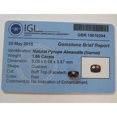 Batu Permata Natural Garnet Facet Mata Merah 1.66 Carat