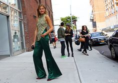 Constance Jablonski - At Wes GordonWes Gordon top and pants