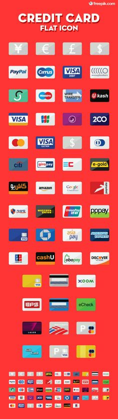E-commerce Freebie on Noupe: 50+ Credit Card Flat Icons by Freepik - noupe