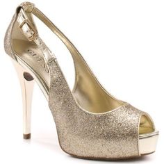 "HP Guess Gold Glitter Heels Worn once. 3.5"" heel. Comfortable and classy for dressing up for any fun occasion! Guess Shoes Heels"