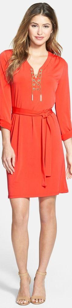 MICHAEL Michael Kors Print Chain Lace-Up Shirtdress
