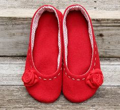 Wool slippers using pattern from Shoeology on Etsy