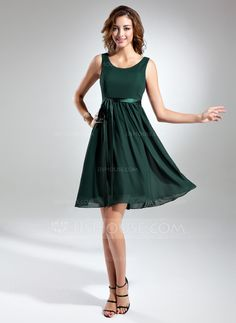 A-Line/Princess Scoop Neck Knee-Length Chiffon Charmeuse Bridesmaid Dress With Bow(s) (007015498) - JJsHouse