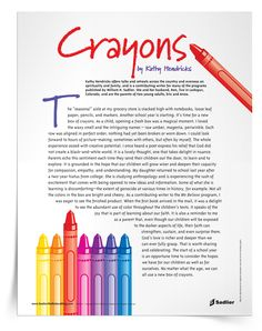 """""""Crayons:"""" An Article for Parents   Download an article for parents reflecting on the hope of a new school year. #Catholic #Catholics #Catechist #Catechesis #CatholicEdchat"""