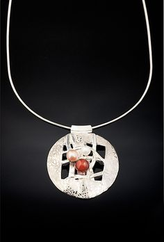Woven Round Color necklace by Chi Cheng Lee: Silver & Stone Necklace available at www.artfulhome.com