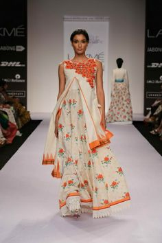 Follow the Print Pattern for Inner Part...But the Jacket should be embroidered at the bottom.....Shruti Sancheti Lakme Fashion Week S/R 2014