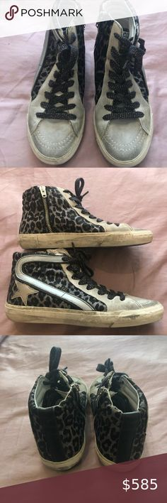 Shopbop Exclusive! Golden Goose Leopard Slide, 36 Shopbop Exclusive Grey Leopard Slide Sneaker, Size 36. Won only once and in mint condition. Black glitter laces add that extra special touch! Comes with original box and shoe bag. Golden Goose Deluxe Brand Shoes Sneakers