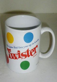 TWISTER Game Coffee Mug Cup 'The Game That Ties You Up In Knots' Hasbro 2003 #SherwoodBrandsofRLInc