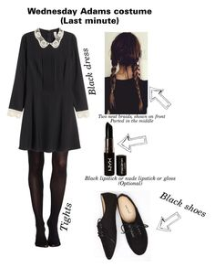 """Last mintute costumes (Wednesday Adams)"" by hopecassia19 ❤ liked on Polyvore featuring SPANX, H&M, Wet Seal and NYX"