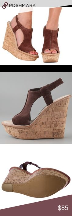 Elizabeth & James Brown Suede Sling Peep Wedge Used twice!  In excellent condition! Elizabeth and James Shoes