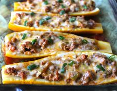 Taco Stuffed Summer Squash Boats are an easy grain-gree and gluten-free substitute for tacos! This is the perfect recipe to use up extra summer squash or zucchini. Mexican Food Recipes, Beef Recipes, Cooking Recipes, Healthy Recipes, Recipes Dinner, Healthy Food, Recipies, Primal Recipes, Cooking Corn