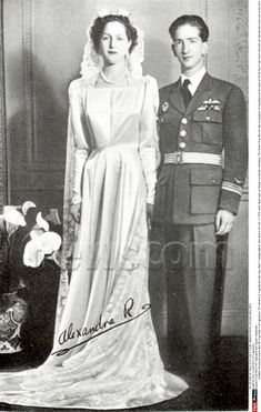 King Peter II (Petar II Karađorđević) (1923-1970) of Yugoslavia with Queen Alexandra (1921-1993) of Greece wedding. Peter II  Alexandra was the only child of King Alexander (1893-1920) of Greece & Aspasia Manos (1896-1972).