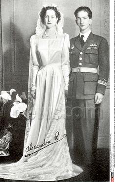King Peter II (Petar II Karađorđević) (1923-1970) of Yugoslavia with Queen Alexandra (1921-1993) of Greece wedding. Peter II  Alexandra was the only child of King Alexander (1893-1920) of Greece & Aspasia Manos (1896-1972).