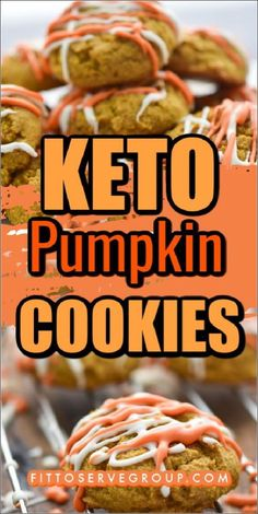 These easy Keto Cream Cheese Pumpkin Cookies for a pumpkin spice cookie that won't affect your waistline. Low in carbs, and sugar-free these keto pumpkin cookies are bursting with the flavor of fall and are sure to become a seasonal favorite. Keto Cookies| low carb cookies| sugar-free cookies| Keto pumpkin recipe| low carb pumpkin recipe #ketopumpkincookies #lowcarbpumpkincookies