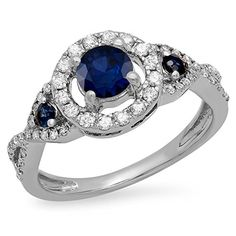 10K White Gold Round Blue Sapphire & White Diamond 3 Stone Swirl Halo Bridal Engagement Ring (Size 8) DazzlingRock Collection http://www.amazon.com/dp/B00VM5XP4U/ref=cm_sw_r_pi_dp_6x8Swb07C2W7B