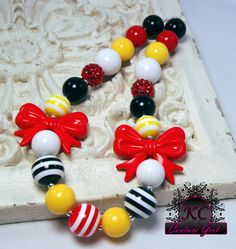 Girls Boutique Jewelry Mickey Mouse Chunky Beaded Necklace Bows