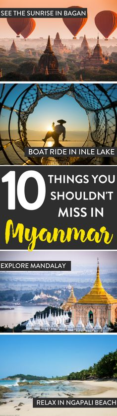 Myanmar Travel Heading to Myanmar? Here's our list of things that you shouldn't miss while in the Myanmar. From the balloons up Bagan or Inle lake, Myanmar is full of epic adventures. Cool Places To Visit, Places To Travel, Travel Destinations, Places To Go, Yangon, Myanmar Travel, Asia Travel, Burma Myanmar, Phuket