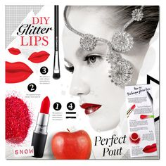 """DIY Glitter Lips"" by justlovedesign ❤ liked on Polyvore featuring beauty, MAC Cosmetics, redlips, lips, snowwhite, glitterlips and diyglitterlips"