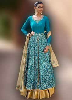 Blue and Golden Yellow Embroidered Lehenga