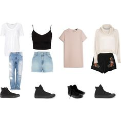 Casual Outfits With High Top Black Converse by samsus on Polyvore featuring polyvore, fashion, style, MANGO, River Island, T By Alexander Wang, Glamorous, Pull&Bear, Chicnova Fashion and Converse