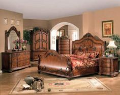 Cal King Bedroom Set - Traditional Wood Bed Furniture Collection in Rich Walnut Finish