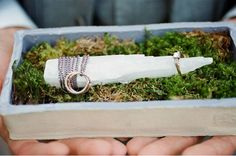 wedding bands on a healing crystal