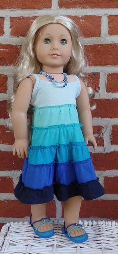 Tiered maxi dress in ocean colors by GumbieCatDollClothes on Etsy. Made using the LJC Maxi Dress pattern. Find it at http://www.pixiefaire.com/products/maxi-dress-18-doll-clothes. #pixiefaire #libertyjane #maxidress