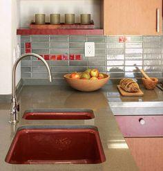 Kitchen back splash details & red sink!