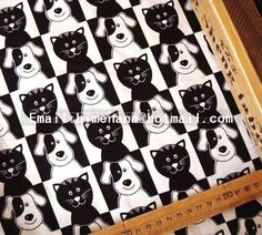 Brother Sister Cotton Fabric - Black and White Cats and Dogs Portrait