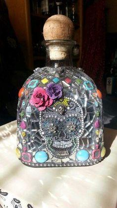 Sugar Skull on tequila bottle
