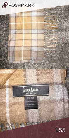 """100% cashmere scarf Neiman Marcus Soft and luxurious 100% cashmere plaid scarf in beige/tan/grey tones. Brand new condition! Size 66""""x12"""" Accessories Scarves & Wraps"""