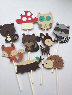 Woodland Theme Boys Baby Shower - 12 Woodland Animal Cupcake Toppers by MiaSophias on Etsy, $11.99