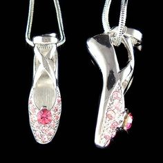 Swarovski Crystal Pink BALLERINA Ballet Dance Shoes Slippers Charm Pendant Necklace Christmas Gift