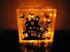 spooky house glass block